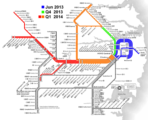 After the initial trial on the Eastern Suburbs and City Circle Lines, Opal will then be rolled out progressively onto the North Shore, Inner West, Northern, Western, and South Lines. Click to enlarge. (Sources: Transport for NSW, Cityrail, modified by author)