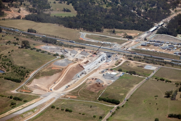 The SWRL currently under construction, passing underneath the Hume Highway. Click to enlarge. (Source: Transport for NSW)