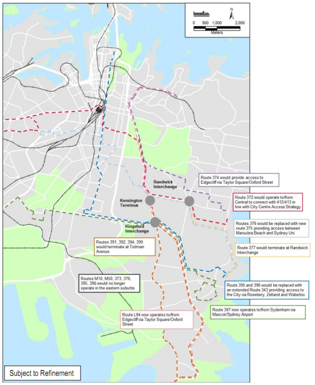 Proposed changes to the bus network in SE Sydney once light rail begins operating in 2020. Click to enlarge. (Source: CSELR EIS Volume 2, p. 130)