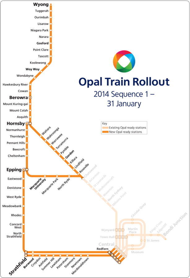 Stations to which Opal will be rolled out on 31 January. Click to enlarge. (Source: Transport for NSW.)
