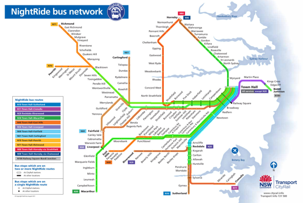 Nightride bus network with weekend frequency: 10 minutes (purple), 15 minutes (blue), 30 minutes (green), 60 minutes (orange). Click to enlarge. (Source: Sydney Trains.)
